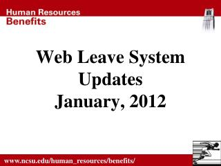 Web Leave System  Updates January, 2012