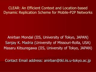 CLEAR: An Efficient Context and Location-based Dynamic Replication Scheme for Mobile-P2P Networks