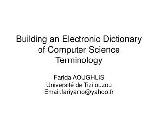 Building an Electronic Dictionary of Computer Science Terminology