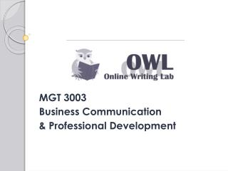MGT 3003 Business Communication & Professional Development