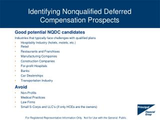 Identifying Nonqualified Deferred Compensation Prospects