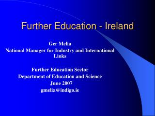 Further Education - Ireland