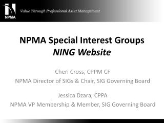 NPMA Special Interest Groups NING Website