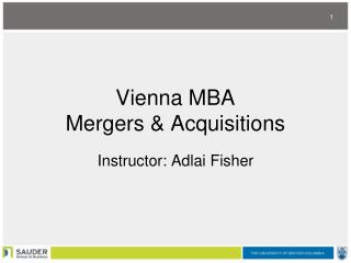Vienna MBA  Mergers & Acquisitions