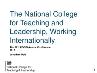 The National College for Teaching and Leadership, Working Internationally