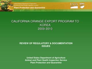 CALIFORNIA ORANGE EXPORT PROGRAM TO KOREA 2009-2010