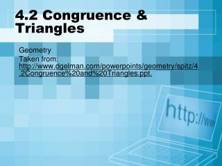 4.2 Congruence & Triangles