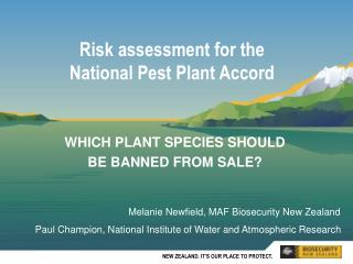 Risk assessment for the National Pest Plant Accord
