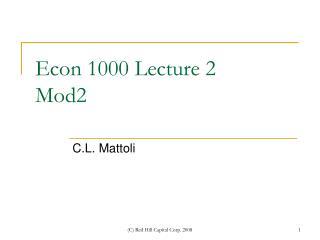 Econ 1000 Lecture 2 Mod2