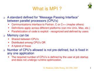 What is MPI ?