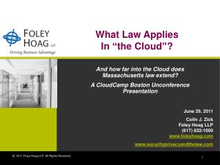 """What Law Applies In """"the Cloud""""?"""