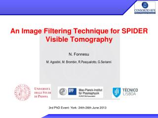 An Image Filtering Technique for SPIDER Visible Tomography