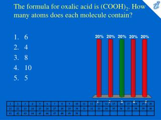 The formula for oxalic acid is (COOH) 2 . How many atoms does each molecule contain?