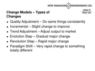 Change Models – Types of Changes