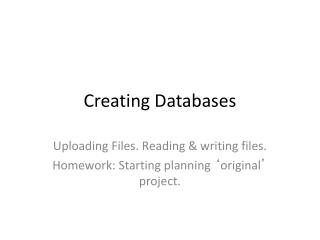 Creating Databases