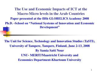 The Use and Economic Impacts of ICT at the Macro-Micro levels in the Arab Countries