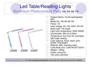 Led Table/Reading Lights Aluminium Photoconduct Plate KB-SR-A8-7W