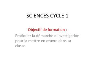 SCIENCES CYCLE 1