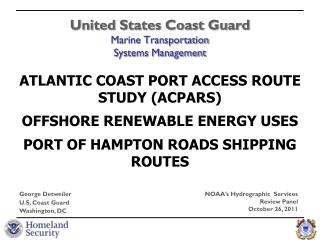 United States Coast Guard Marine Transportation  Systems Management