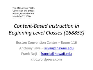 Content-Based Instruction in Beginning Level Classes (168853)