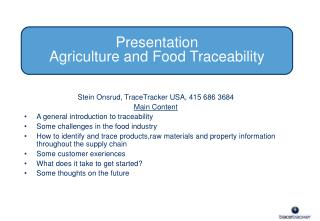 Presentation Agriculture and Food Traceability