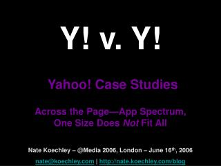 Y! v. Y! Yahoo! Case Studies Across the Page—App Spectrum,  One Size Does  Not  Fit All