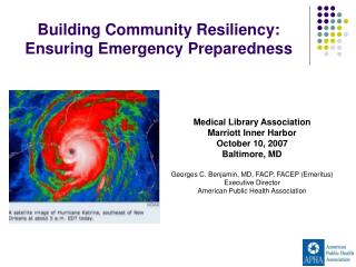 Building Community Resiliency:  Ensuring Emergency Preparedness