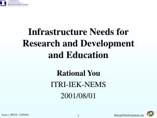 Infrastructure Needs for Research and Development  and Education