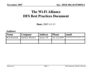 The Wi-Fi Alliance DFS Best Practices Document
