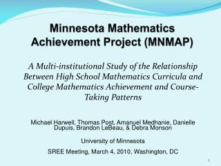 Minnesota Mathematics Achievement Project (MNMAP)