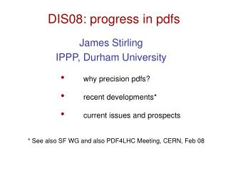 DIS08: progress in pdfs