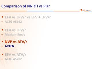 Comparison of NNRTI vs PI/r