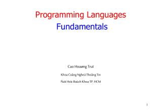Programming Languages Fundamentals