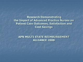 APN Multi State  Reimbursement Alliance