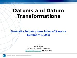 Datums and Datum Transformations