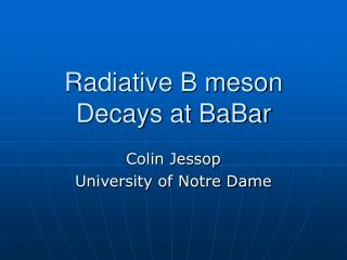 Radiative B meson Decays at BaBar