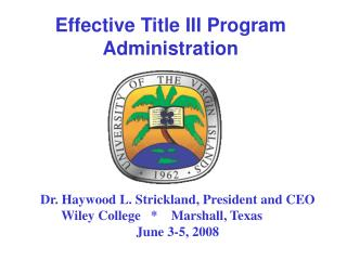 Effective Title III Program Administration