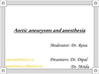 Aortic aneurysms and anesthesia