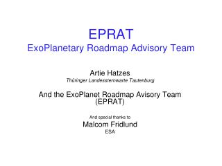 EPRAT ExoPlanetary Roadmap Advisory Team