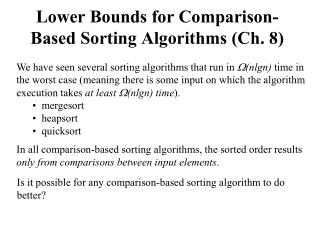 Lower Bounds for Comparison-Based Sorting Algorithms (Ch. 8)