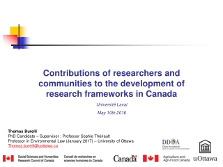 Contributions of researchers and communities to the development of research frameworks in Canada