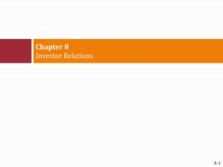 Chapter 8 Investor Relations