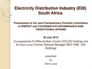 Electricity Distribution Industry (EDI)  South Africa