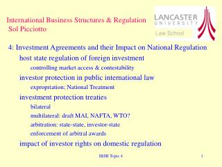 International Business Structures & Regulation  Sol Picciotto