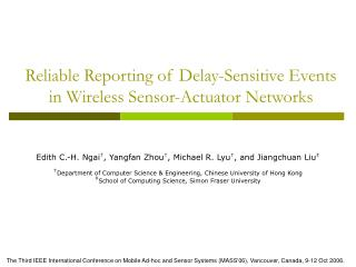 Reliable Reporting  of Delay-Sensitive Events in  Wireless Sensor-Actuator Networks