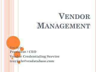 Vendor Management