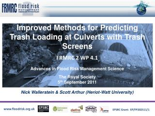 Improved Methods for Predicting Trash Loading at Culverts with Trash Screens
