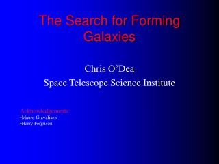 The Search for Forming Galaxies
