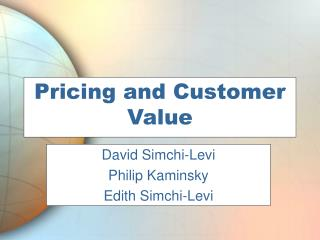 Pricing and Customer Value