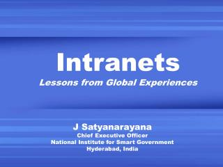 Intranets Lessons from Global Experiences
